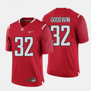 Mens #32 Justin Goodwin Rutgers Jersey Red College Football 917412-755