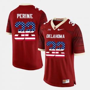 Crimson Samaje Perine OU Jersey US Flag Fashion Mens #32 314715-110