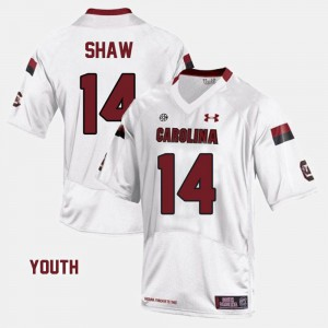 #14 Youth(Kids) White Connor Shaw South Carolina Jersey College Football 767522-577