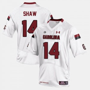 White Connor Shaw South Carolina Jersey Men #14 College Football 482449-255