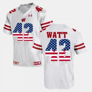 #42 T.J Watt Wisconsin Jersey For Men's US Flag Fashion White 715660-511