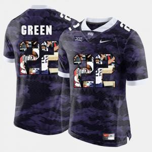 #22 Aaron Green TCU Jersey Purple High-School Pride Pictorial Limited Men's 924411-747