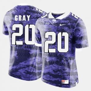 Purple #20 College Football For Men Deante Gray TCU Jersey 414233-308