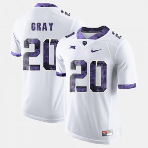 Deante Gray TCU Jersey #20 For Men White College Football 658043-142
