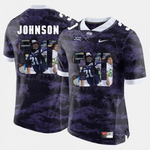 Purple Denzel Johnson TCU Jersey Mens High-School Pride Pictorial Limited #30 203757-237