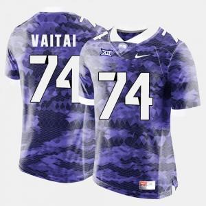 Purple College Football Mens #74 Halapoulivaati Vaitai TCU Jersey 450015-393