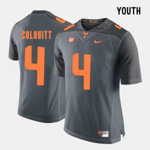 #4 Britton Colquitt UT Jersey College Football Grey Kids 719413-998