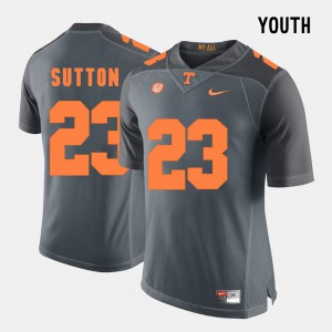 Cameron Sutton UT Jersey Grey #23 Youth(Kids) College Football 604617-793