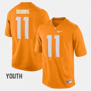 Orange #11 Kids College Football Joshua Dobbs UT Jersey 863809-283