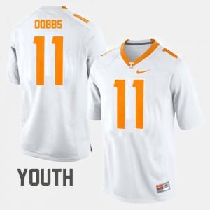 College Football White #11 Kids Joshua Dobbs UT Jersey 474264-439
