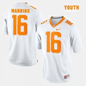 #16 White College Football Youth(Kids) Peyton Manning UT Jersey 206093-252