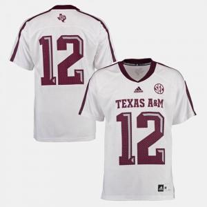 White For Men's #12 College Football Texas A&M Jersey 552604-721