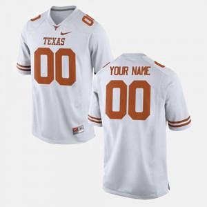 For Men's College Football #00 Texas Custom Jersey White 968590-186