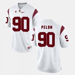 Pac-12 Game Men's #90 Claude Pelon USC Jersey White 875106-991