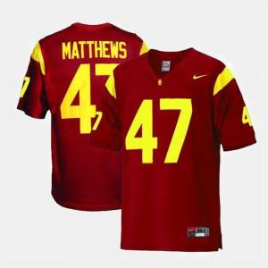 College Football Men's Red #47 Clay Matthews USC Jersey 879718-125