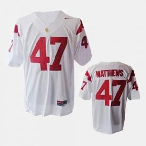 #47 Clay Matthews USC Jersey Youth(Kids) White College Football 703900-746