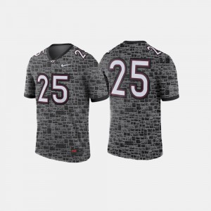 Virginia Tech Jersey College Football #25 Anthracite Mens 193765-809