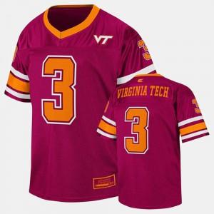 Maroon #3 College Football Virginia Tech Jersey Youth(Kids) 126548-816
