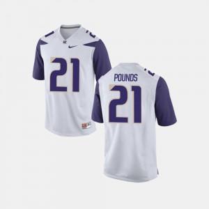 Quinten Pounds Washington Jersey #21 College Football For Men White 267735-740