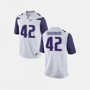 Van Soderberg Washington Jersey White #42 For Men's College Football 651672-828
