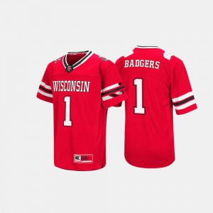 Men's Wisconsin Jersey Hail Mary II #1 Red 673170-997