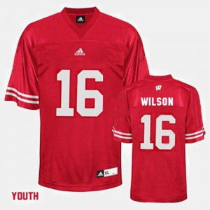 Youth(Kids) #16 Russell Wilson Wisconsin Jersey Red College Football 101953-673