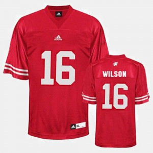 Russell Wilson Wisconsin Jersey College Football Red For Men's #16 381572-646