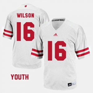 Youth Russell Wilson Wisconsin Jersey College Football #16 White 590801-576