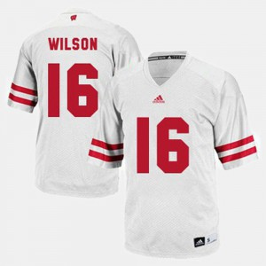 White Russell Wilson Wisconsin Jersey #16 Men's College Football 128328-106