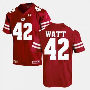 Red Alumni Football Game #42 Mens T.J Watt Wisconsin Jersey 928213-169