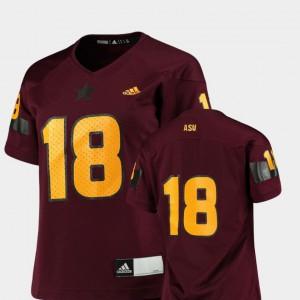 College Football ASU Jersey Maroon #18 Replica Ladies 235319-488