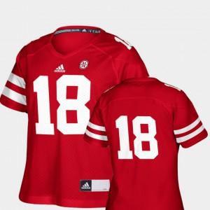 Scarlet College Football #18 Women's Replica Nebraska Jersey 722987-547