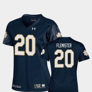 C'Bo Flemister Notre Dame Jersey College Football #20 Replica Navy Ladies 266220-462