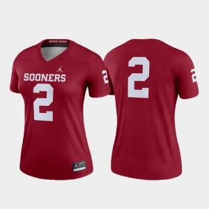 OU Jersey Legend #2 College Football For Women Crimson 486570-460