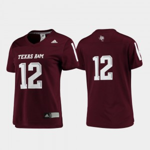 Maroon For Women's #12 Texas A&M Jersey Football Replica 495265-709