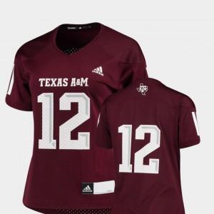 Maroon Replica Women's Texas A&M Jersey College Football #12 644650-373