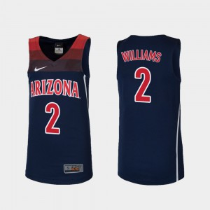 #2 College Basketball Youth(Kids) Brandon Williams Arizona Jersey Replica Navy 695784-904