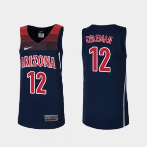 Navy #12 Justin Coleman Arizona Jersey College Basketball Youth(Kids) Replica 224393-684