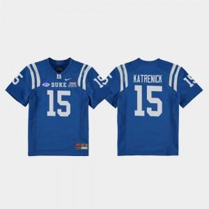 Youth(Kids) College Football Game Chris Katrenick Duke Jersey #15 2018 Independence Bowl Royal 613789-411