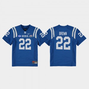 Brittain Brown Duke Jersey #22 2018 Independence Bowl Royal College Football Game For Kids 448659-734