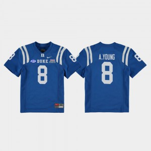 College Football Game Aaron Young Duke Jersey Royal 2018 Independence Bowl Kids #8 701262-540