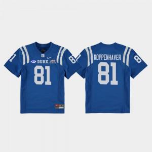 Royal 2018 Independence Bowl College Football Game #81 Davis Koppenhaver Duke Jersey Kids 114125-401