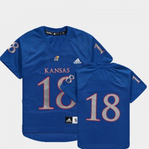 Replica #18 Kids College Football Royal KU Jersey 582339-233