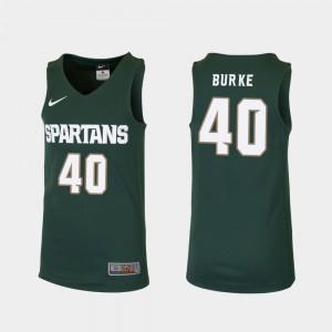 College Basketball Braden Burke MSU Jersey Replica #40 Green Kids 645340-237