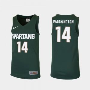 Replica Kids #14 Green College Basketball Brock Washington MSU Jersey 272987-440