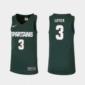 Replica Green College Basketball For Kids Foster Loyer MSU Jersey #3 805077-296