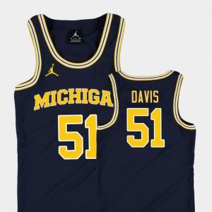 Replica Navy Youth(Kids) #51 College Basketball Jordan Austin Davis Michigan Jersey 805050-434