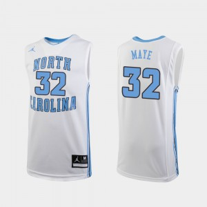 #32 White For Kids Luke Maye UNC Jersey Replica College Basketball 625588-476