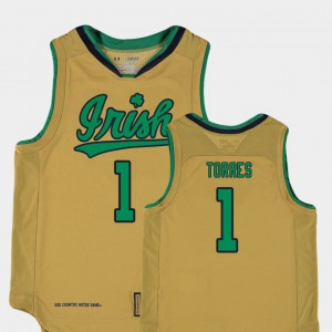 #1 Austin Torres Notre Dame Jersey Replica Gold College Basketball Special Games Youth 189886-460