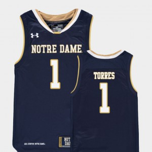 For Kids Austin Torres Notre Dame Jersey #1 Replica College Basketball Navy 879522-841